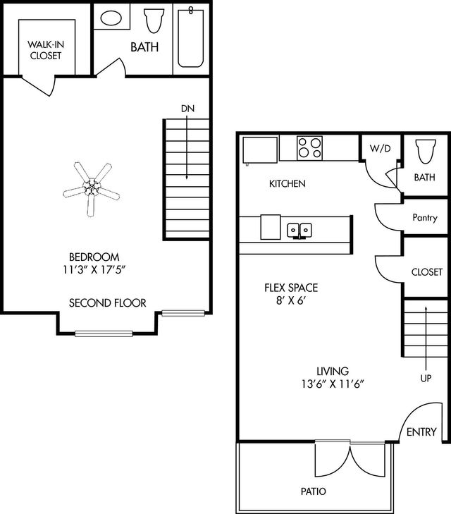 Two Story Apartment Layout - Durham at Cityview Floor Plan 1 bed 1 bath 790 square feet