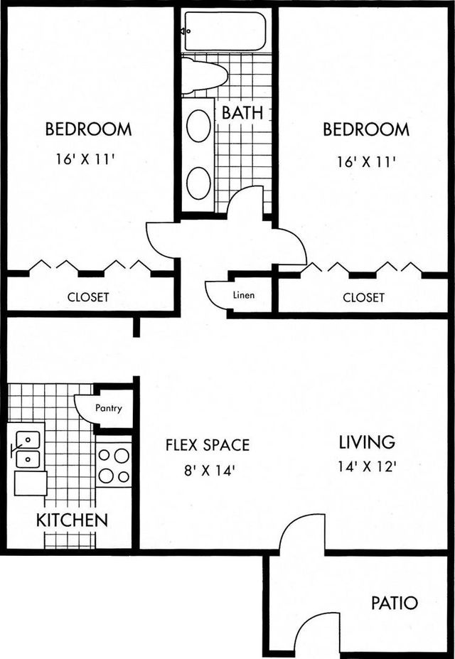 Biscayne at Cityview with Patio layout 1 bed 1 bath 980 sq ft