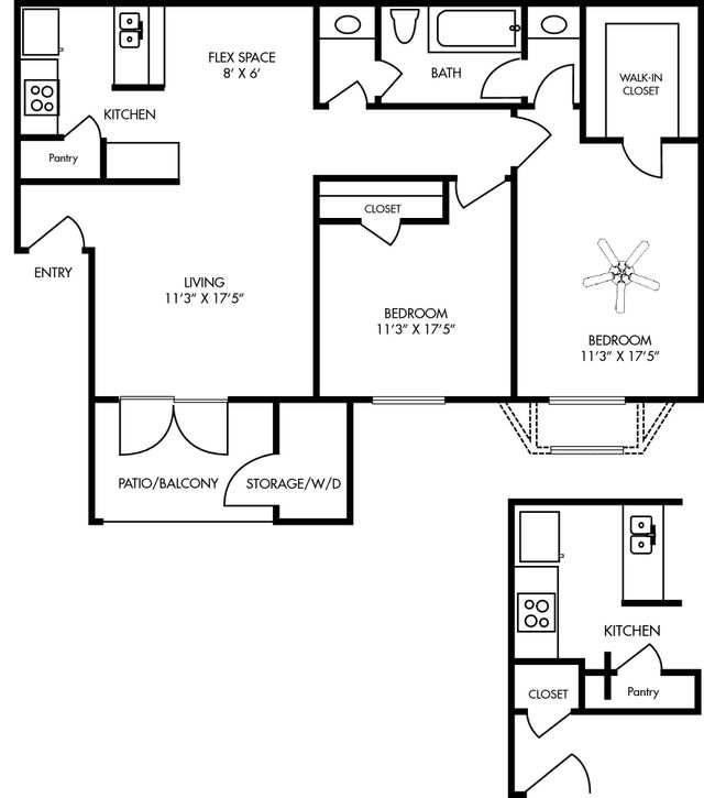 Durham at Cityview Layout 2 bed 1 bath 829 square feet