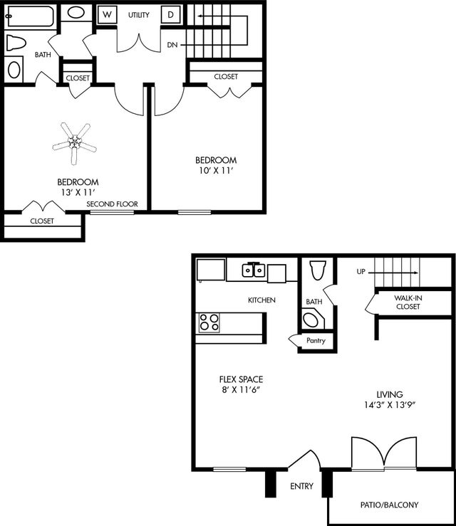 Two Story Durham at Cityview Floor Plan 2 bed 1 bath 978 sq ft