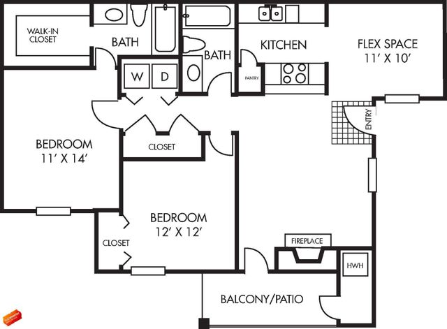 Augusta Floor Plan 2 bed 2 bath 1048 sq ft with Balcony / Patio