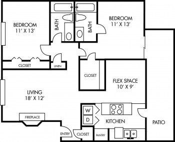 Salado at Cityview Largest Floor Plan 2 bed 2 bath 1055 sq ft in Houston Texas