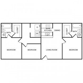 Houston Texas Rockridge Commons 3 bed 2 bath Floor Plan