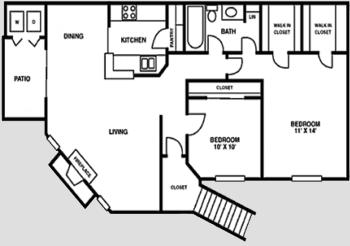 Houston Texas Apartment Complex Crescent at Cityview Floor Plan 2 bed 2 bath