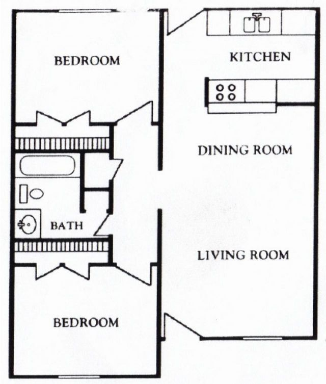 Houston Texas Apartment - Mont Belvieu Floor Plan 2 bed 1 bath 718 sq ft