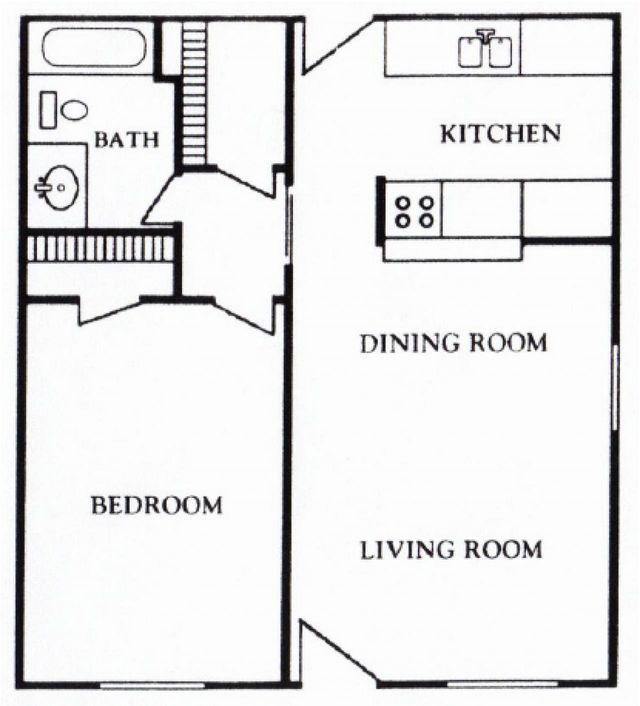 Houston Texas - Mont Belvieu Apartment Floor Plan 1 bed 1 bath 622 square feet