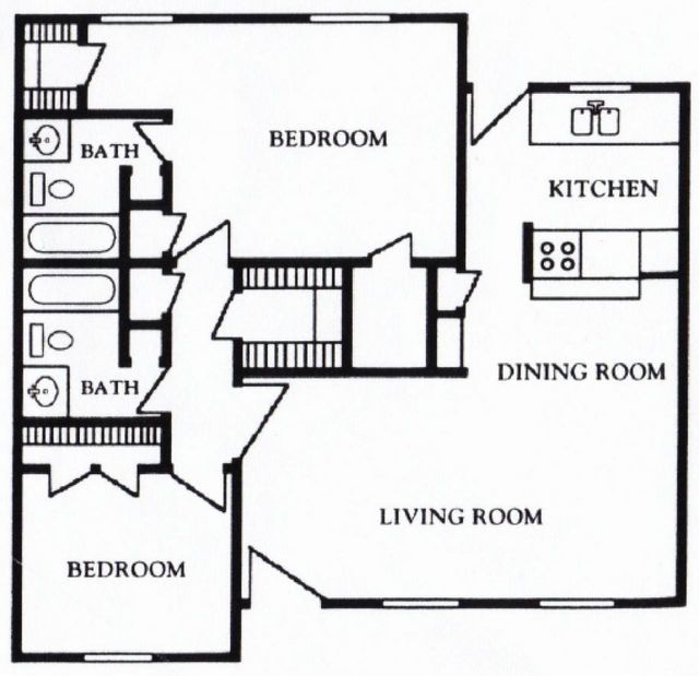 Mont Belvieu Floor Plan 2 bed 2 bath 1180 sq ft