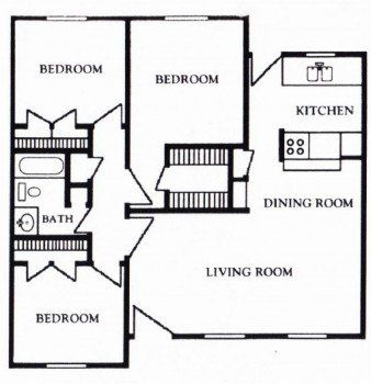 Houston Texas Apartment - Mont Belvieu Floor Plan 3 bed 3 bath 1180 sq ft