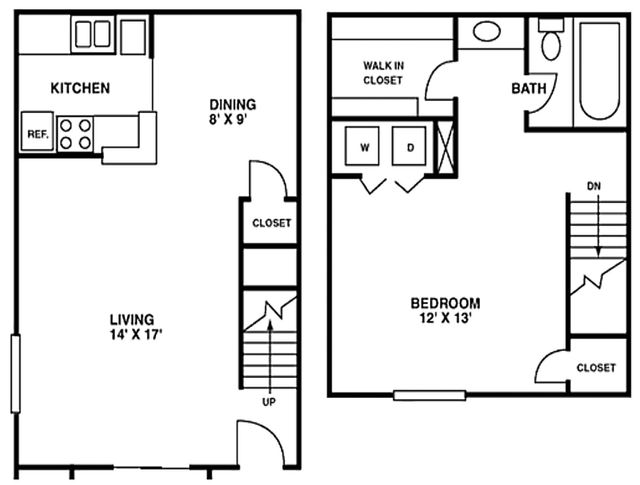 Houston Apartment - Crescent at Cityview Floor Plan Two Story 1 bed 1 bath 813 sq ft