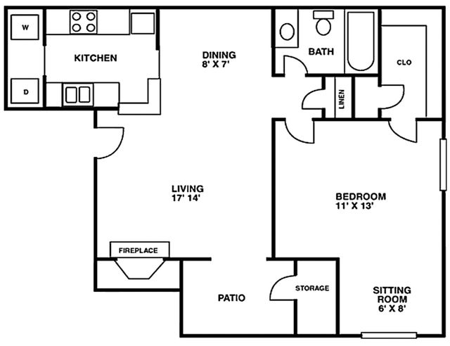 Crescent at Cityview Floor Plan 1 bed 1 bath - Houston Texas
