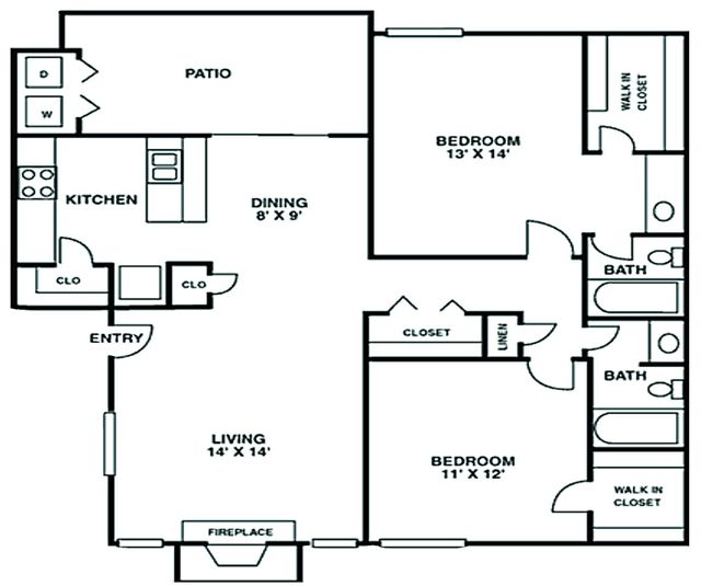 Crescent at Cityview Floor Plan 2 bed 1 bath 1033 sq ft