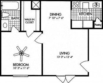 Amherst Floor Plans 1 bed 1 bath 531 sq ft