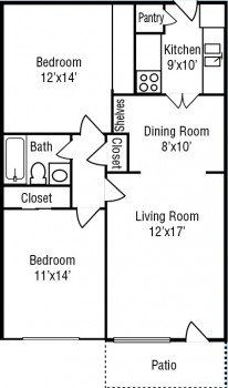 Stone River Apartments in Houston 1 bed 1 bath Floor Plan