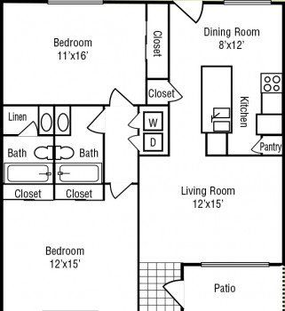 Stone River Apartments 2 bed 2 bath Largest Floor Plan 1100 sq ft