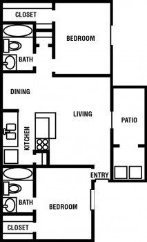 Houston Texas Northpointe Village 2 bed 2 bath Floor Plan 1040 sq ft with Patio