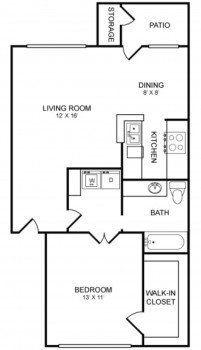 Houston Texas Rockridge Commons 1 bed 1 bath Floor Plan