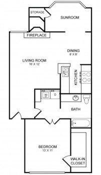 Houston Apartment Rockridge Commons 1 bed 1 bath Layout 803 square feet