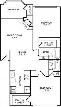 Rockridge Commons 2 bed 2 bath Floor Plan with Sunroom