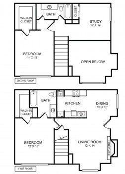 Houston Texas Two Story Apartment Rockridge Commons 2 bed 2 bath Floor Plan 1230 sq ft