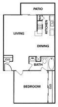 Apartment Complex Heatherwood Floor Plan 1 bed 1 bath 670 square feet