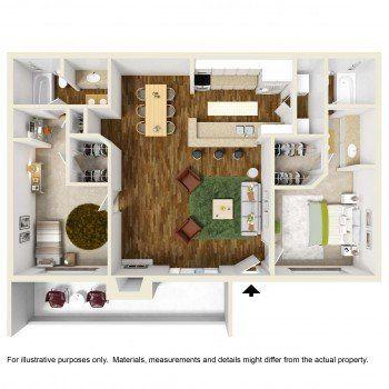 Rockridge Springs Largest 2 bed 2 bath Floor Plan 1050 Square Feet