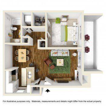Houston Texas Rockridge Square 1 bed 1 bath Floor Plan