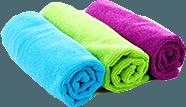 asciugamani verde, blu e viola