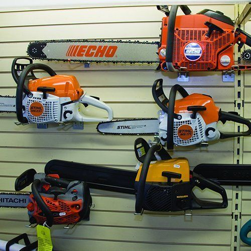 A selection of chainsaws