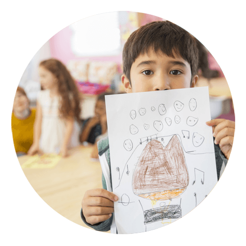 A child with his drawing
