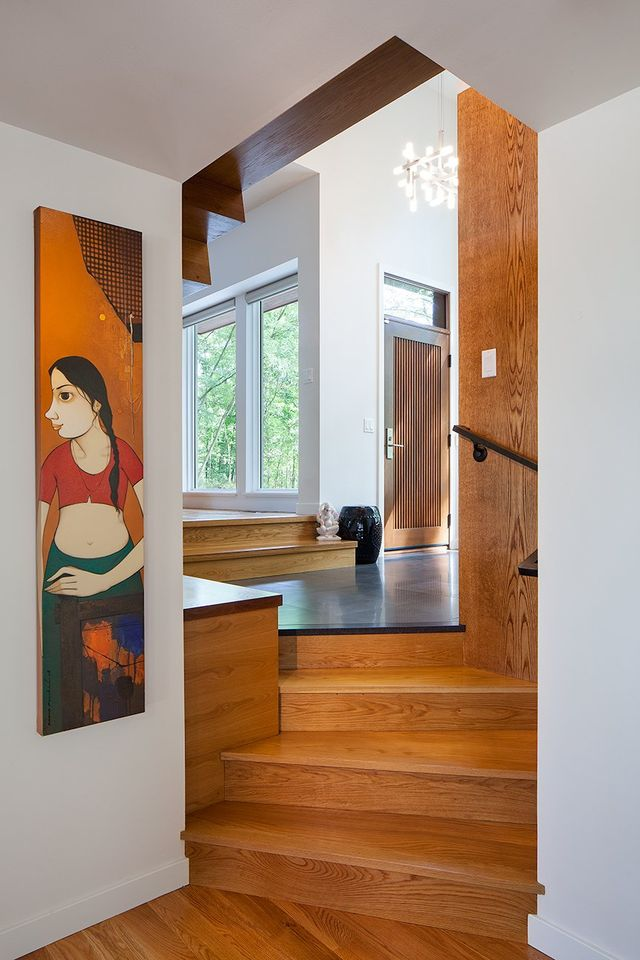 Modern residential architecture. From the lower level looking into the entry foyer.
