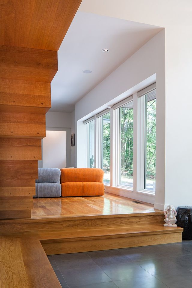 Modern residential architecture. From the entry foyer looking into the main living area.