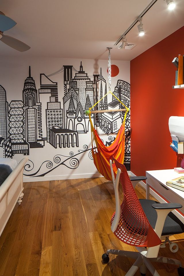 Modern residential architecture. Daughter's Bedroom features a custom mural and hammock.