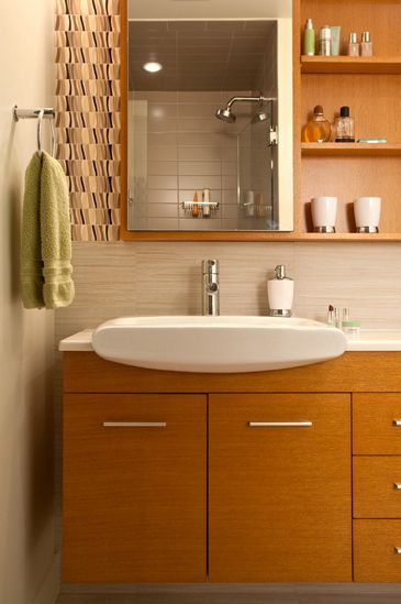 Modern residential architecture. James Martin Solid Wood double sink with medicine cabinets and shelves
