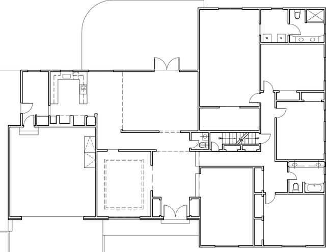 Existing First Level Plan The large entry foyer seemed over scaled for the rest of the space, and the hallway between dining room and kitchen/ family room was an awkward space the confined movement between rooms.