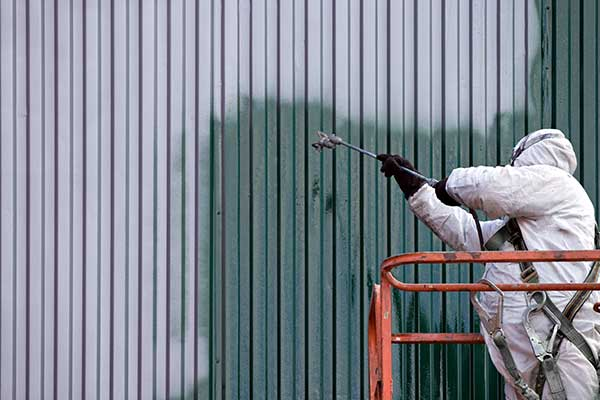 A commercial painter on duty