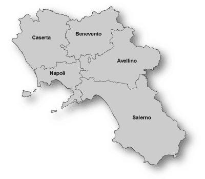 mappa della regione Campania