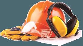 un casco antinfortunistico, delle cuffie e dei guanti