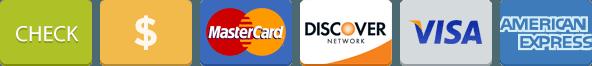 Cash, Check, Visa, Discover, MasterCard, American Express Icons