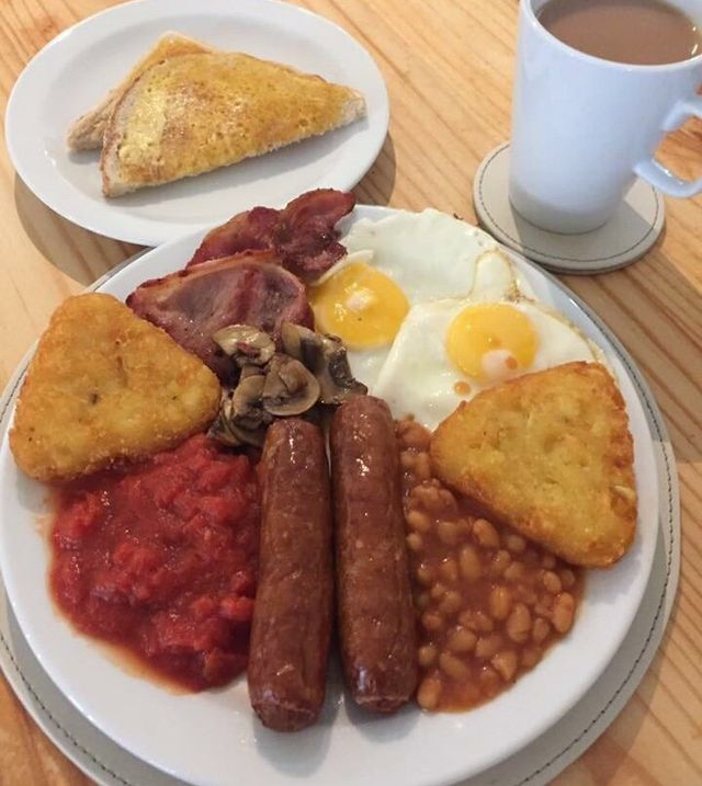 A full English breakfast and a side order of toast and coffee