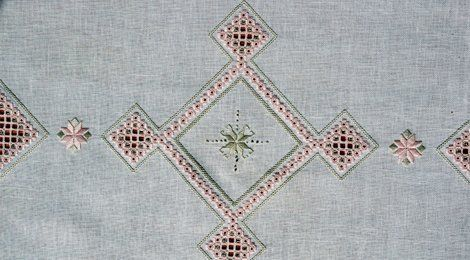 Diamond shapes embroidered on a cloth