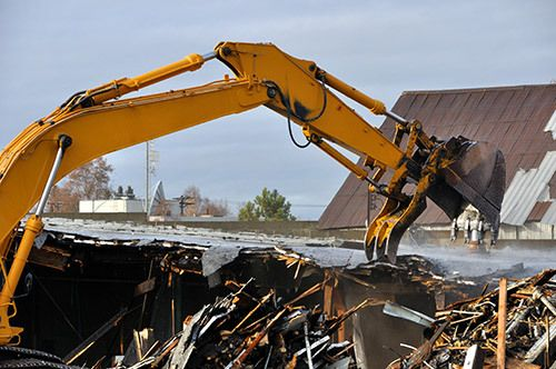 Machine being used for demolition in Somerset, KY