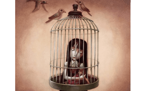 Giovane prigioniera in una gabbia mentale