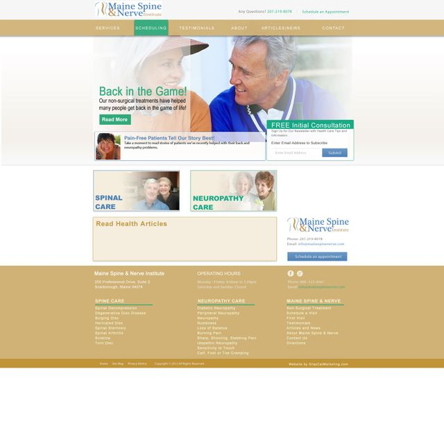 Back Pain Medical Practice Branding & Website Design | MDMark360