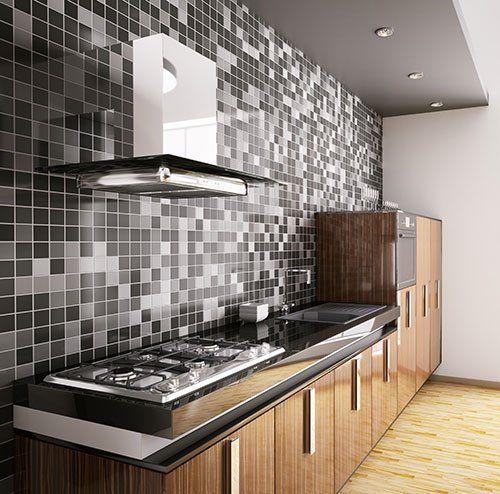 una cucina a blocco in legno