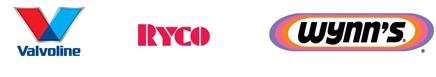 Valvoline, Ryco and Wynn's logos