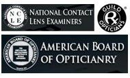 National Contact Lens Examiners, American Board of Opticianry, and guild Opticians logos