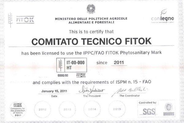 un certificato rilasciato dal Ministero delle politiche agricole alimentari e forestali
