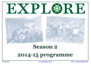 Explore lifelong learning Season 2 2014-15 adult education