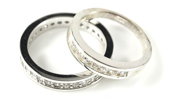 two custom designed wedding rings