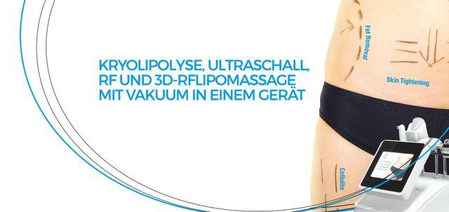 Kryolipolyse, Ultraschall, RF und 3d Lipomed mit Vakuum Effekte auf Körper